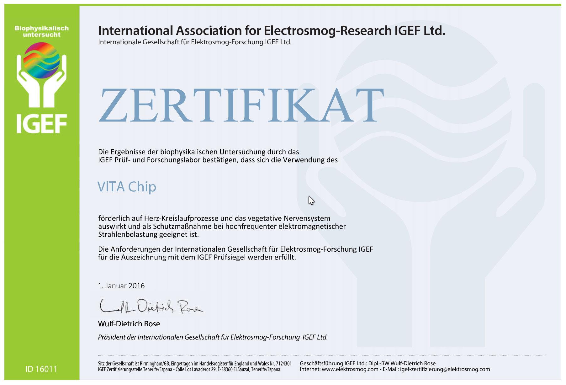 IGEF certificate 2016